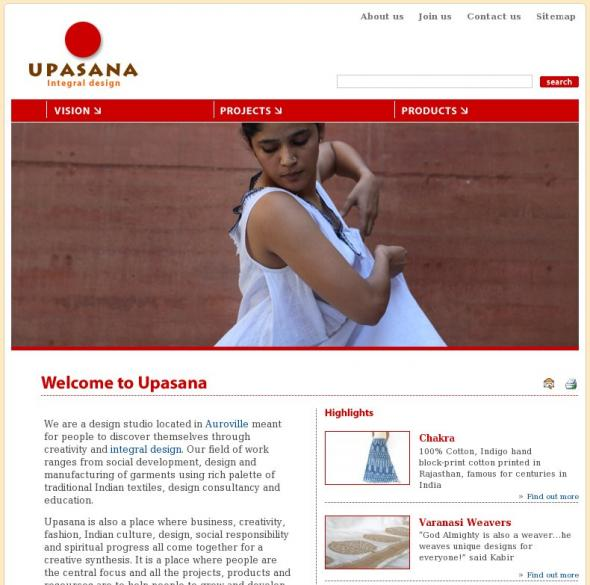 Upasana.in homepage screenshot